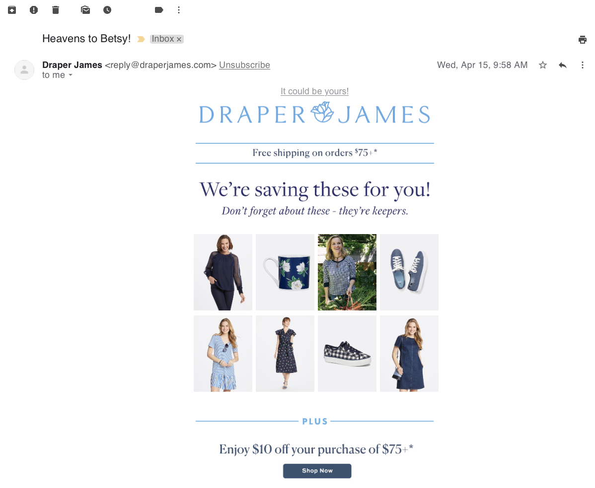 draper james email marketing